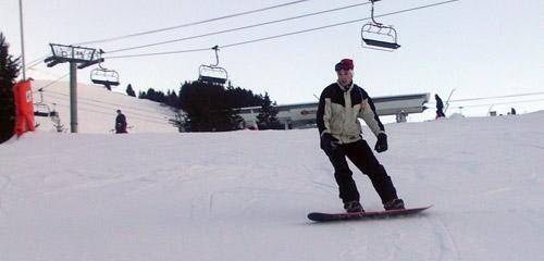 Moi sur un snowboard